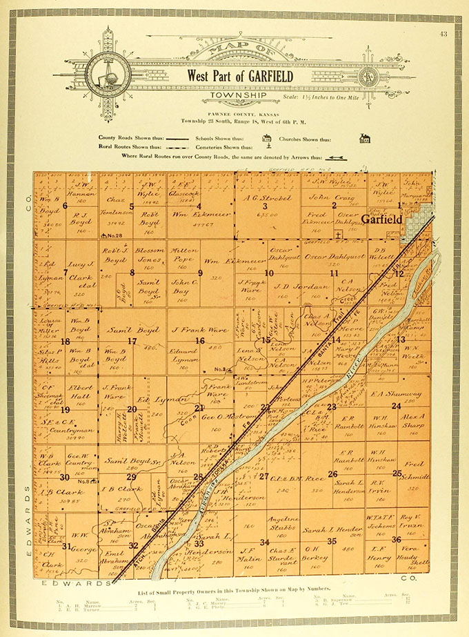 1916 plat of Township 23 South of Range 18 West