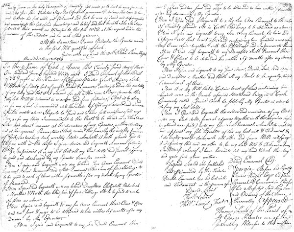 Image of the Will of David Emanuel, Sr.