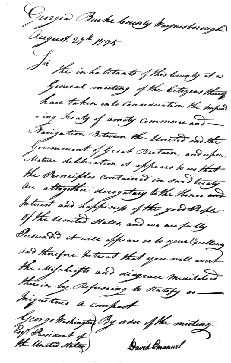 Letter to George Washington from the citizens of Burke County, Georgia